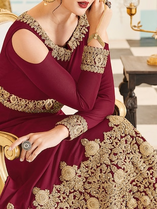 Embroidered semi-stitched anarkali suit - 15503327 - Standard Image - 2