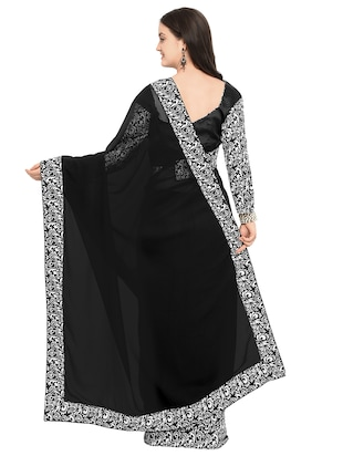 printed lace border black saree with blouse - 15503722 - Standard Image - 2