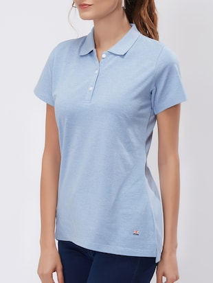 Ice Blue polo neck tee - 15503953 - Standard Image - 2