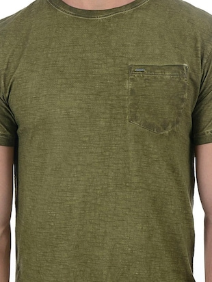 green cotton blend pocket t-shirt - 15504485 - Standard Image - 5