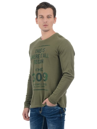 green cotton blend front print t-shirt - 15504487 - Standard Image - 2