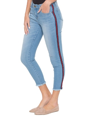 side taped ankle length jeans - 15504893 - Standard Image - 2