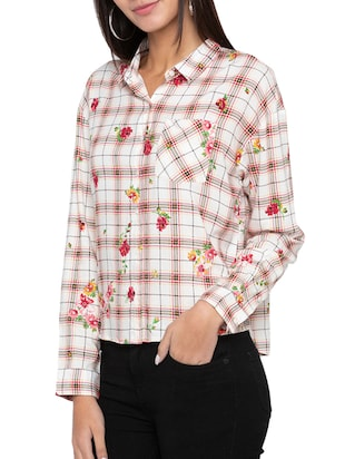pocket patch printed checkered shirt - 15504951 - Standard Image - 2