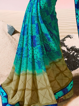 lace border abstract printed saree with blouse - 15505189 - Standard Image - 2