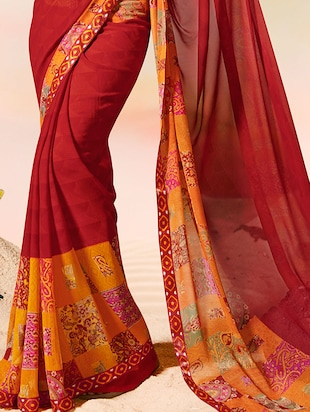 lace border printed border saree with blouse - 15505194 - Standard Image - 2