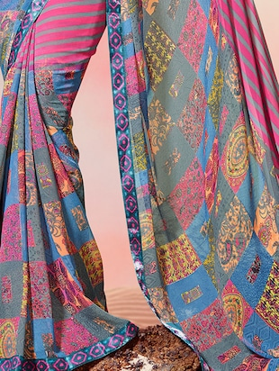 lace border striped printed saree with blouse - 15505196 - Standard Image - 2