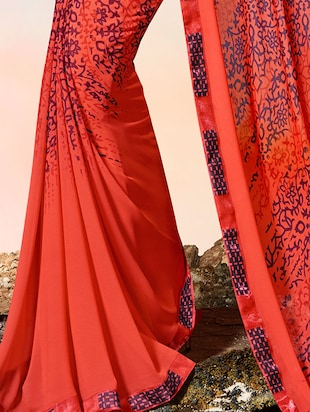 lace border abstract printed saree with blouse - 15505204 - Standard Image - 2