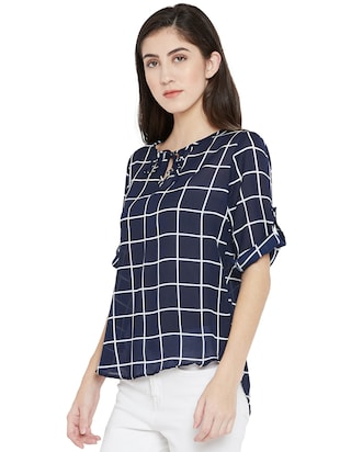 tie-up neck checkered high low top - 15505851 - Standard Image - 2
