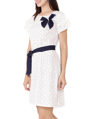 Contrast bow detail belted dress - 15505911 - Standard Image - 2