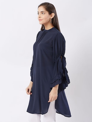 Twilight navy flary sleeves kurti - 15512017 - Standard Image - 2