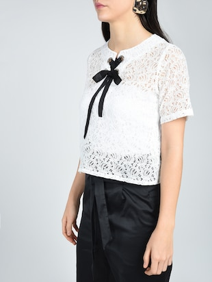 Contrast eyelet lace-up top - 15512110 - Standard Image - 2