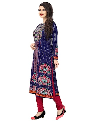 blue crepe churidaar suits unstitched suit - 15515933 - Standard Image - 2