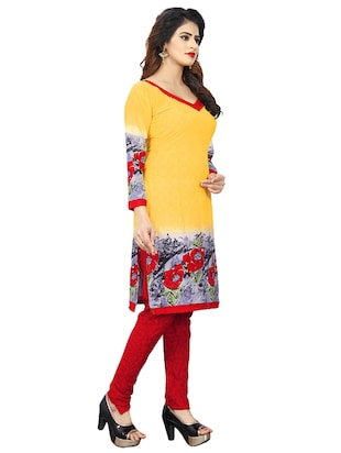 yellow crepe churidaar suits unstitched suit - 15515940 - Standard Image - 2
