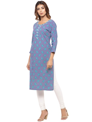 Placket patch printed straight kurta - 15517426 - Standard Image - 2