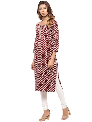 Placket patch printed straight kurta - 15517432 - Standard Image - 2
