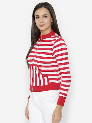 zip-up front striped sweatshirt - 15518027 - Standard Image - 2
