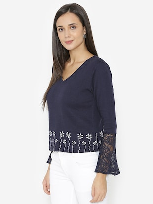 lace detailed sleeved printed top - 15518037 - Standard Image - 2