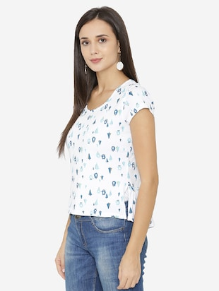 back waist gather printed top - 15518038 - Standard Image - 2