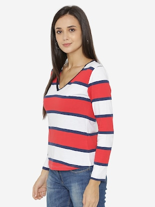 piping neck detail striped top - 15518040 - Standard Image - 2