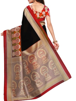 Contrast border mysore silk saree with blouse - 15518133 - Standard Image - 2