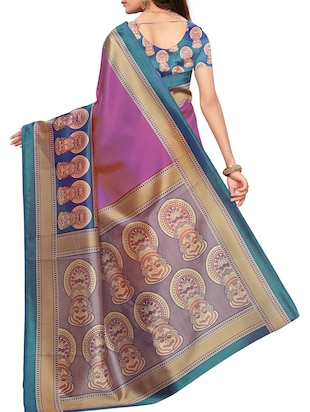 Contrast border mysore silk saree with blouse - 15518137 - Standard Image - 2
