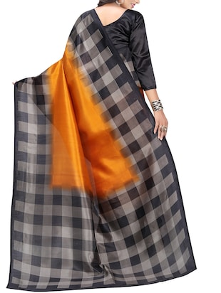 Chequered border mysore silk saree with blouse - 15518156 - Standard Image - 2