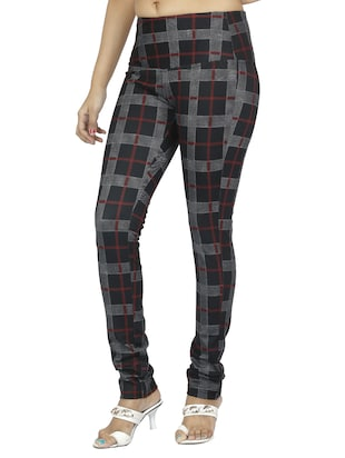 mid waist checkered jegging - 15518251 - Standard Image - 2