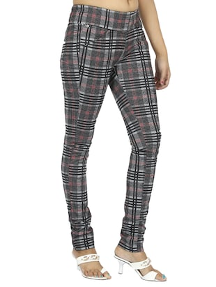 mid waist checkered jegging - 15518260 - Standard Image - 2