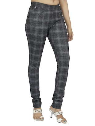 mid waist checkered jegging - 15518263 - Standard Image - 2
