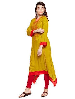 Straight embroidered kurta - 15518276 - Standard Image - 2
