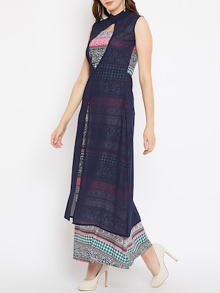 layered front printed maxi dress - 15518342 - Standard Image - 2