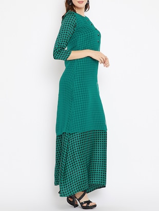 sheer side slit layer checkered dress - 15518344 - Standard Image - 2