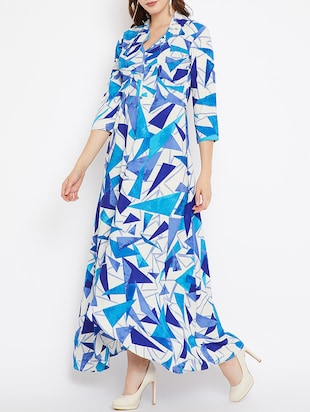 printed high low maxi dress - 15518347 - Standard Image - 2