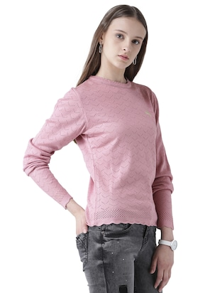 pointelle knit scallop edge pullover - 15519459 - Standard Image - 2