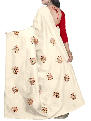 Embroidered Ivory Saree with blouse - 15519494 - Standard Image - 2