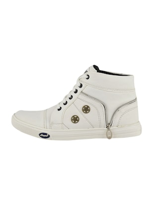 white leatherette lace up sneakers - 15519551 - Standard Image - 2
