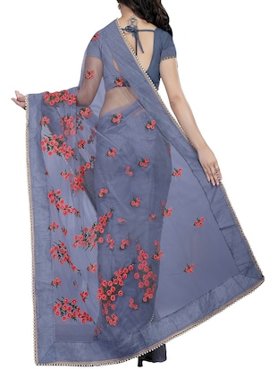 Floral embroidered saree with blouse - 15525277 - Standard Image - 2