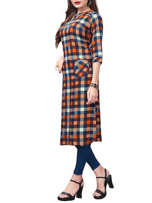 Checkered straight kurta with pockets - 15525911 - Standard Image - 2