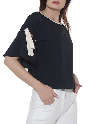 Button Strap knot detailed boxy top - 15527435 - Standard Image - 2