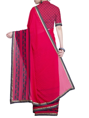 Contrast bordered printed saree with blouse - 15528246 - Standard Image - 2