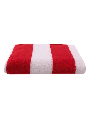 Pack of 2 Microfiber Bath Towel Cabana, 70x140 cms, Large, 250 GSM (White & Red) - 15531226 - Standard Image - 2
