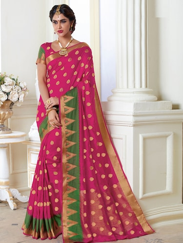 64ca10cf1f3fac Buy Magenta Raw Silk Woven Saree With Blouse by The Fashion Attire - Online  shopping for Sarees in India