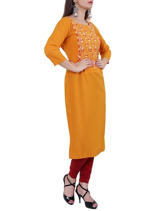 Embroidered straight kurta - 15559902 - Standard Image - 2