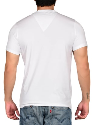 white cotton blend chest print t-shirt - 15561761 - Standard Image - 2