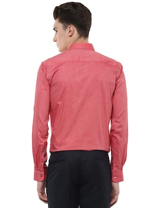 red cotton formal shirt - 15566947 - Standard Image - 2