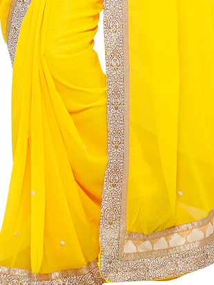 stone embellished yellow saree with blouse - 15571981 - Standard Image - 2