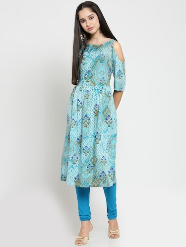 Buy Blue Rayon A-line Kurta for Women from Efy for ₹678 at 32% off