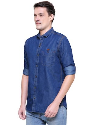 blue denim casual shirt - 15578270 - Standard Image - 2