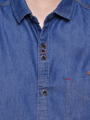 blue denim casual shirt - 15578270 - Standard Image - 5
