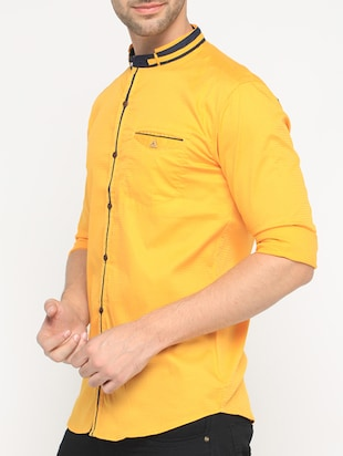 yellow cotton casual shirt - 15582605 - Standard Image - 2